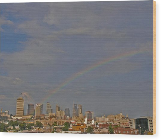 Rainbow Over Nashville Wood Print by Randy Muir