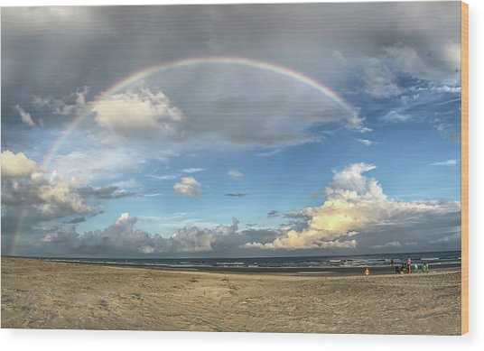 Rainbow Over Ocean Wood Print