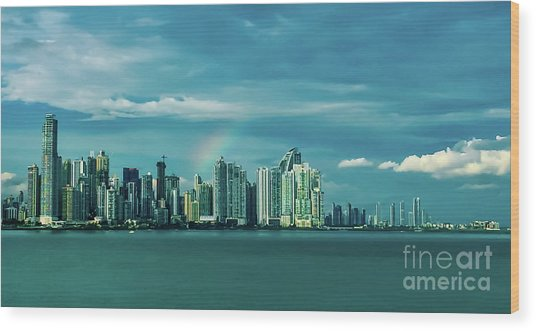 Rainbow Over Panama City Wood Print