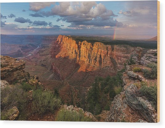 Rainbow Over The Painted Desert Wood Print by Adam Schallau