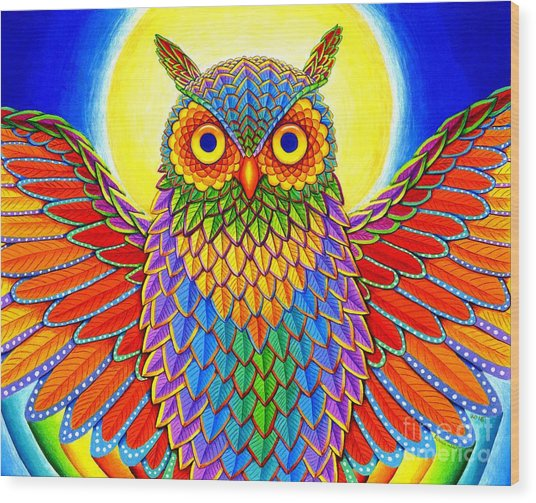Rainbow Owl Wood Print
