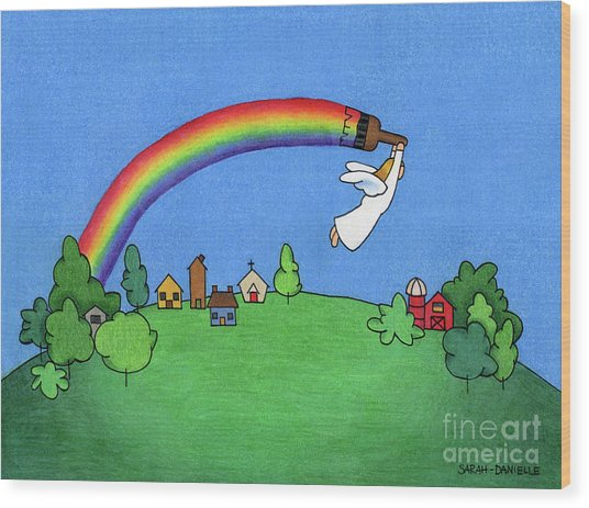 Rainbow Painter Wood Print