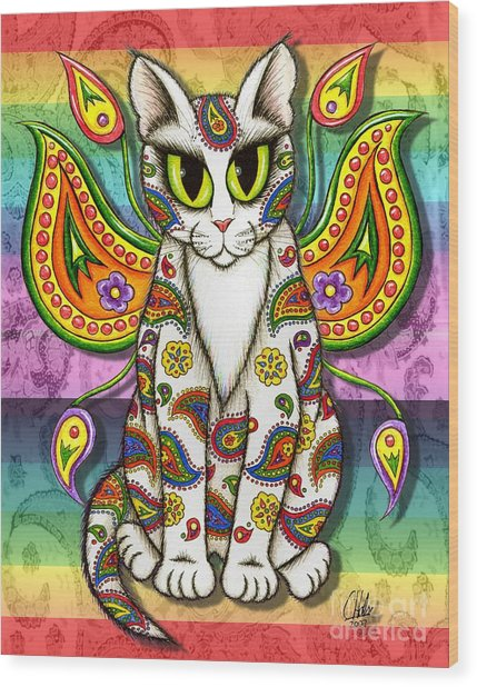 Rainbow Paisley Fairy Cat Wood Print
