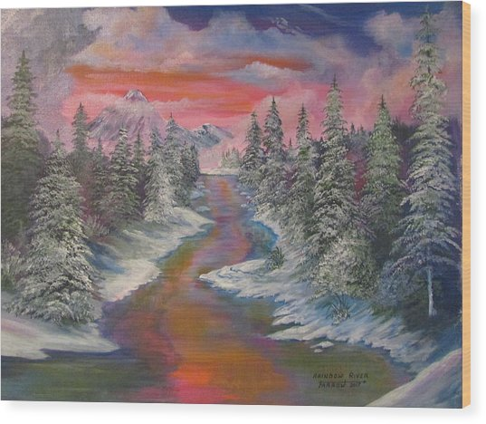North Dakota And The Rainbow River Wood Print