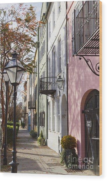 Rainbow Row Charleston Sc 3 Wood Print