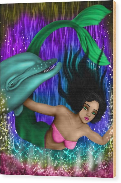 Rainbow Sea Mermaid - Fantasy Art Wood Print