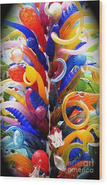Rainbow Spirals Wood Print