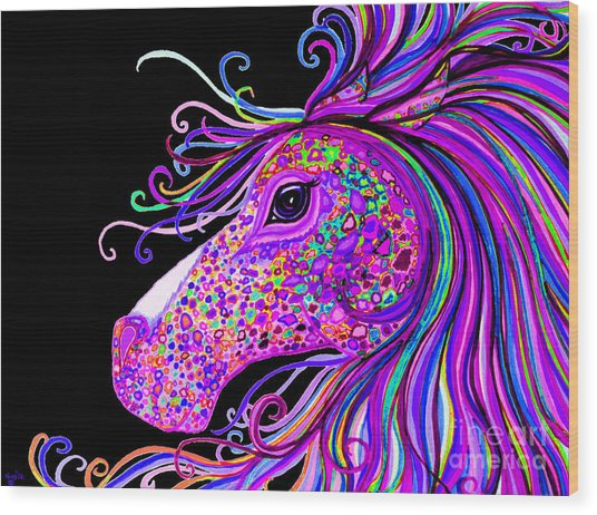 Rainbow Spotted Horse Head 2 Wood Print