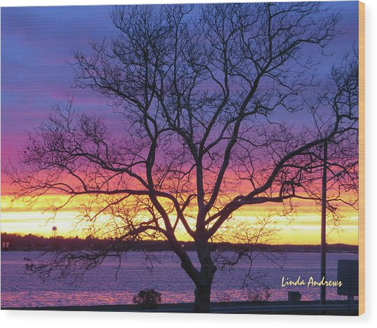Rainbow Sunset Wood Print