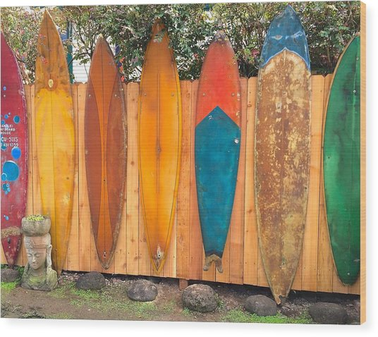 Surfboard Rainbow Wood Print
