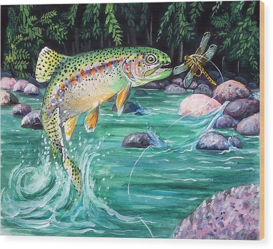 Rainbow Trout Wood Print by Bette Gray