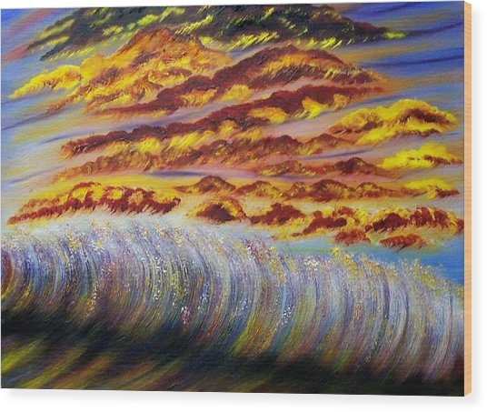 Rainbow Waves Wood Print by Marie Lamoureaux