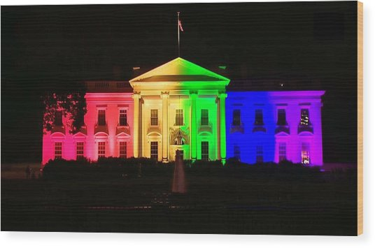 Rainbow White House Wood Print