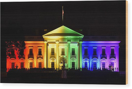 Rainbow White House  - Washington Dc Wood Print