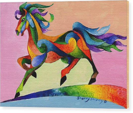 Rainbow Wind Wood Print