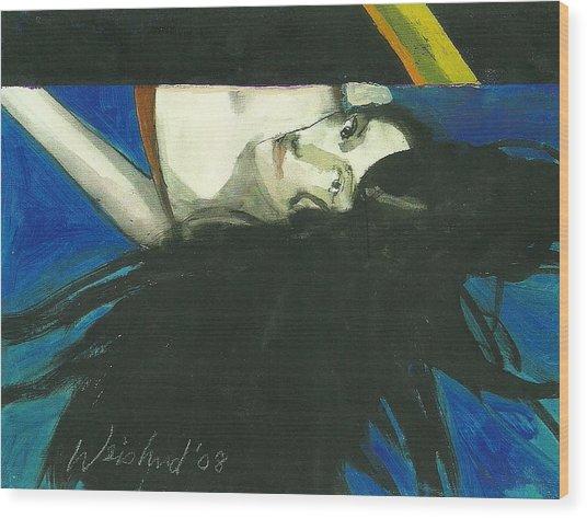 Rainbow  Woman Black Hair Wood Print by Harry  Weisburd