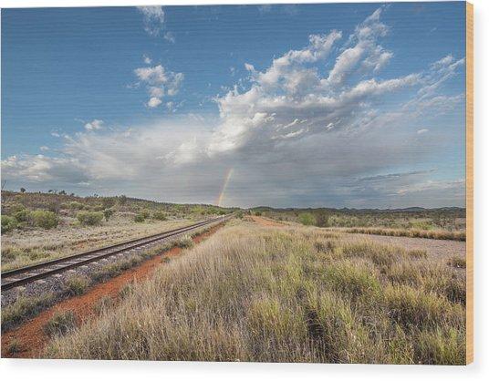 Rainbows Over Ghan Tracks Wood Print