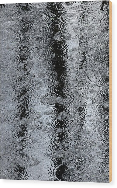 Raindrops On A Pond Wood Print