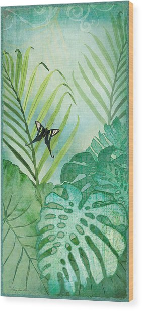 Rainforest Tropical - Philodendron Elephant Ear And Palm Leaves W Botanical Butterfly Wood Print