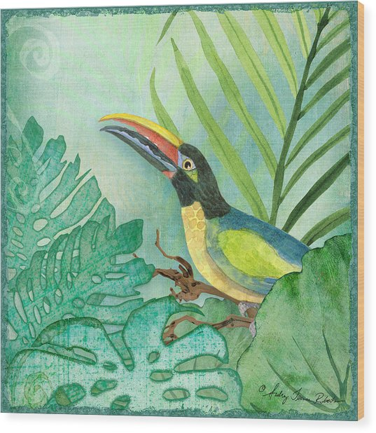 Rainforest Tropical - Jungle Toucan W Philodendron Elephant Ear And Palm Leaves 2 Wood Print