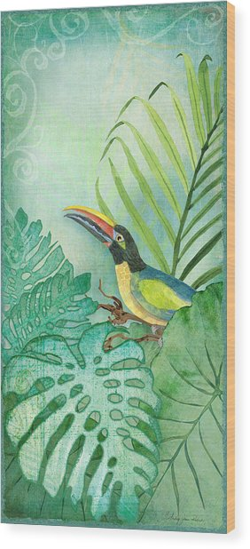 Rainforest Tropical - Tropical Toucan W Philodendron Elephant Ear And Palm Leaves Wood Print