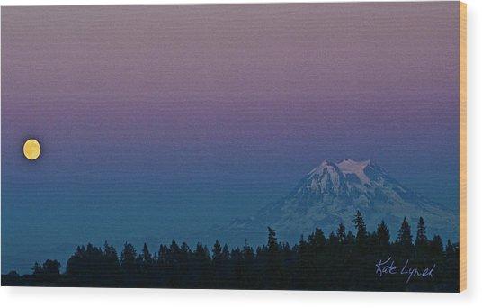 Rainier Moonrise Wood Print