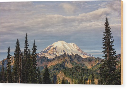 Rainier Morning Wood Print