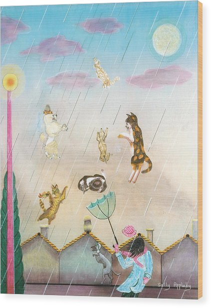 Raining Cats And Dogs Wood Print by Sally Appleby