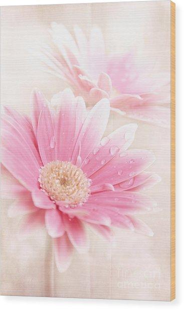Raining Petals Wood Print