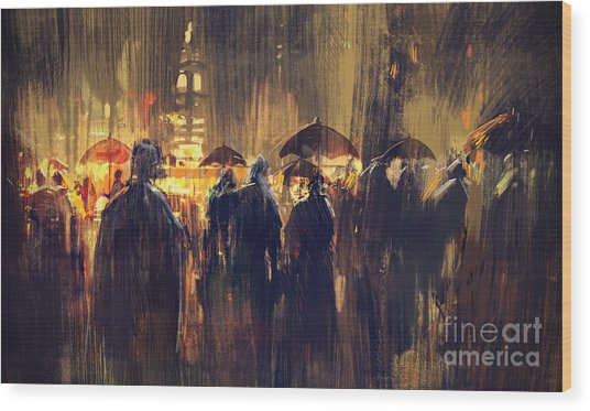 Wood Print featuring the painting Raining by Tithi Luadthong