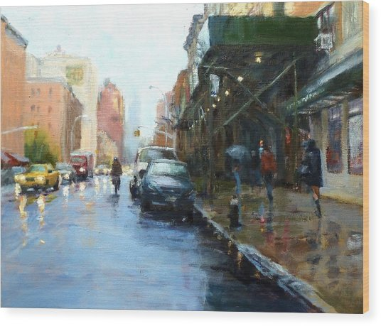 Rainy Afternoon On Amsterdam Avenue Wood Print