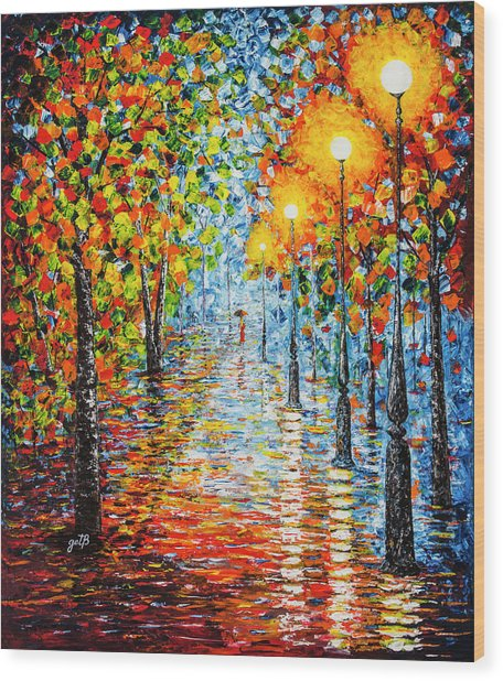 Wood Print featuring the painting Rainy Autumn Evening In The Park Acrylic Palette Knife Painting by Georgeta Blanaru