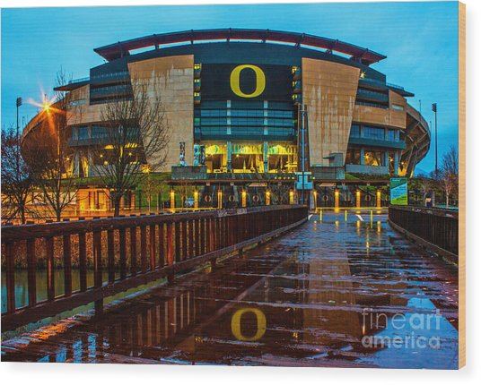 Rainy Autzen Stadium Wood Print