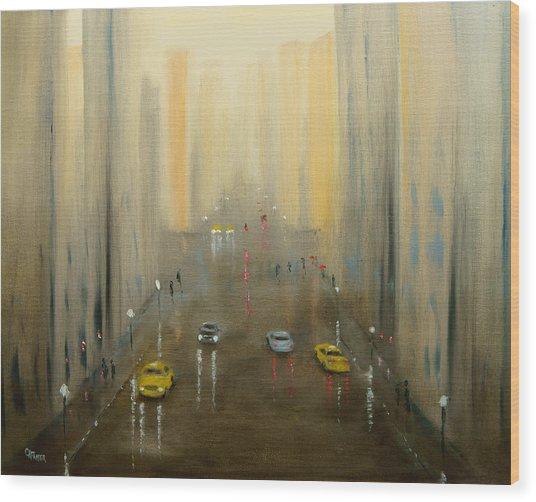 Rainy Day Cityscape Wood Print