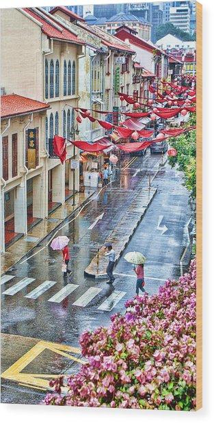 Rainy Day Singapore Wood Print