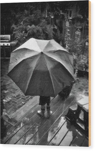 Rainy Day Wood Print by Winnie Chrzanowski