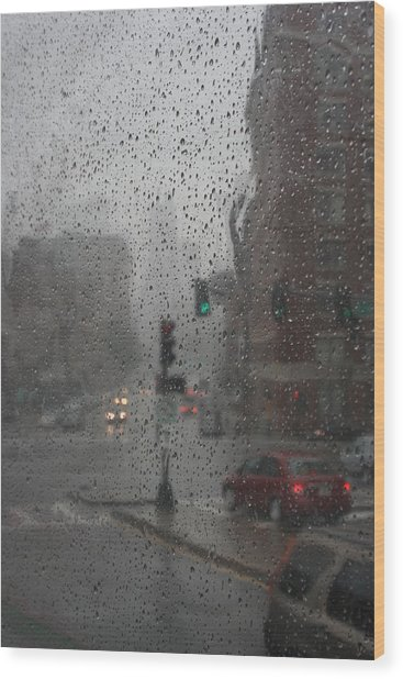 Rainy Days In Boston Wood Print