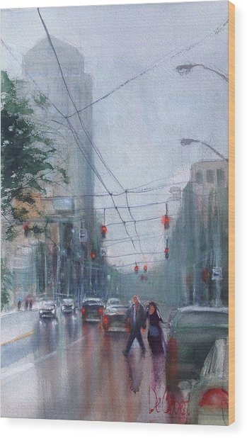 Rainy Downtown Dayton Day Wood Print