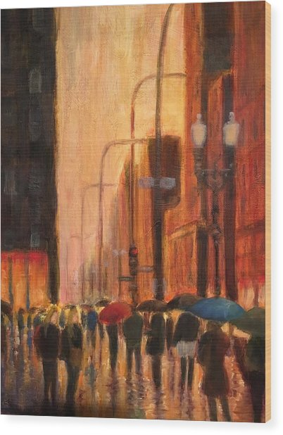 Rainy Evening Chicago Wood Print