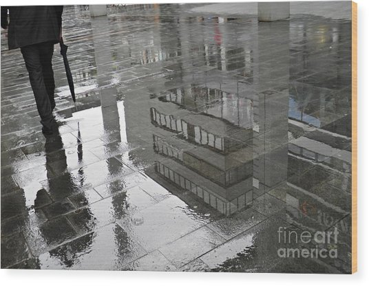 Rainy Morning In Mainz Wood Print
