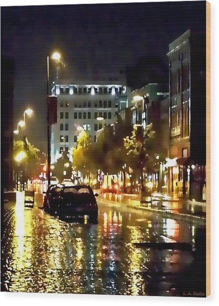 Rainy Night In Green Bay Wood Print