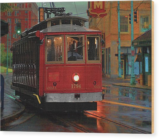 Rainy Night In Memphistenn Wood Print