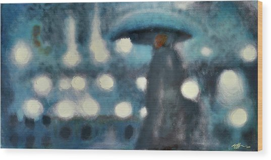 Rainy Night In Paris Wood Print by Steve Park