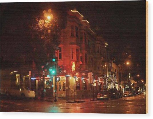 Rainy Night San Francisco Wood Print