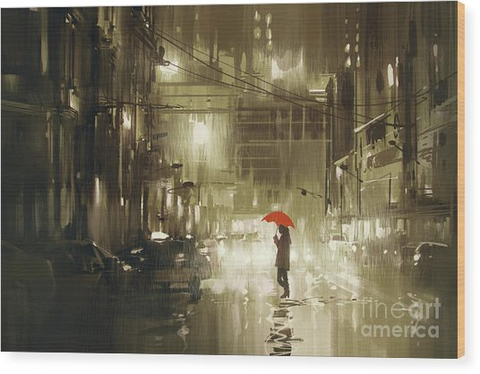 Wood Print featuring the painting Rainy Night by Tithi Luadthong