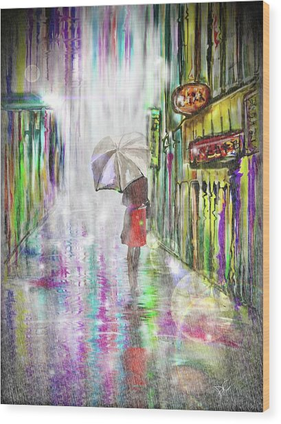 Rainy Paris Day Wood Print