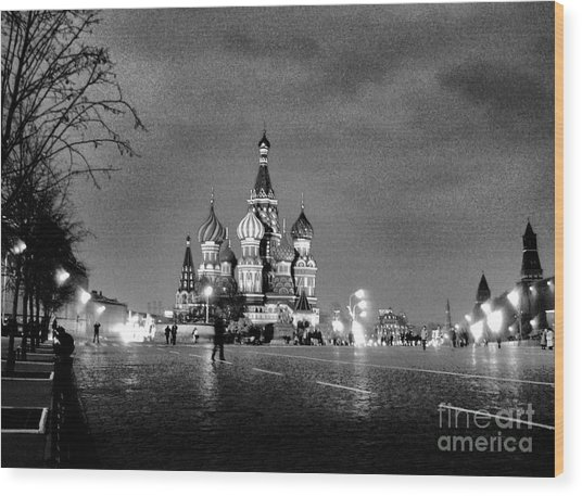 Rainy Red Square At Dusk Wood Print by Steve Rudolph
