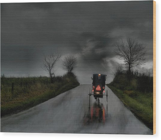Rainy Ride Wood Print