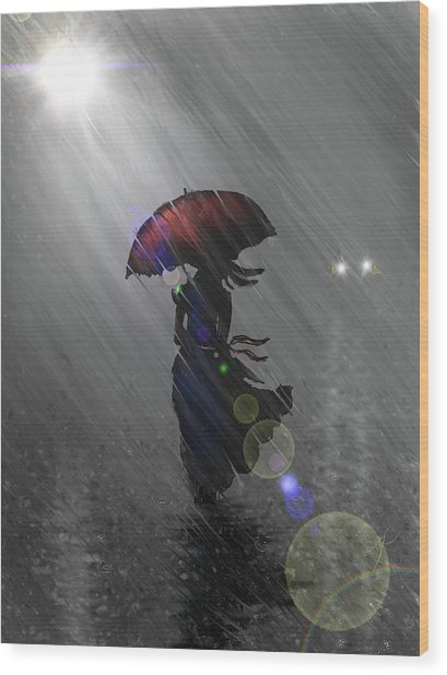 Wood Print featuring the digital art Rainy Walk by Darren Cannell