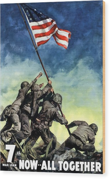 Raising The Flag On Iwo Jima Wood Print